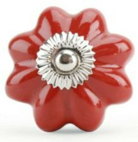 Cupboard Door Knob  - Ceramic Red Melon